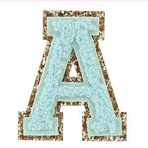 Mint Monogram Glitter Chenille Letter Patches